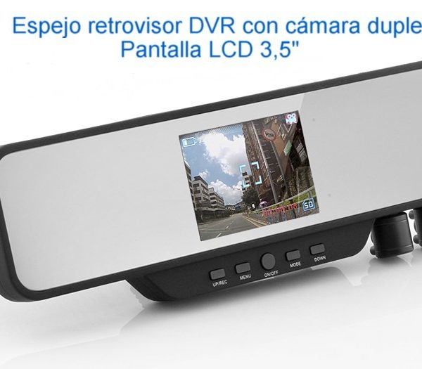 "Cámara doble en retrovisor monitor LCD de 3,5""con DVR Integrado, modelo EL-I233"